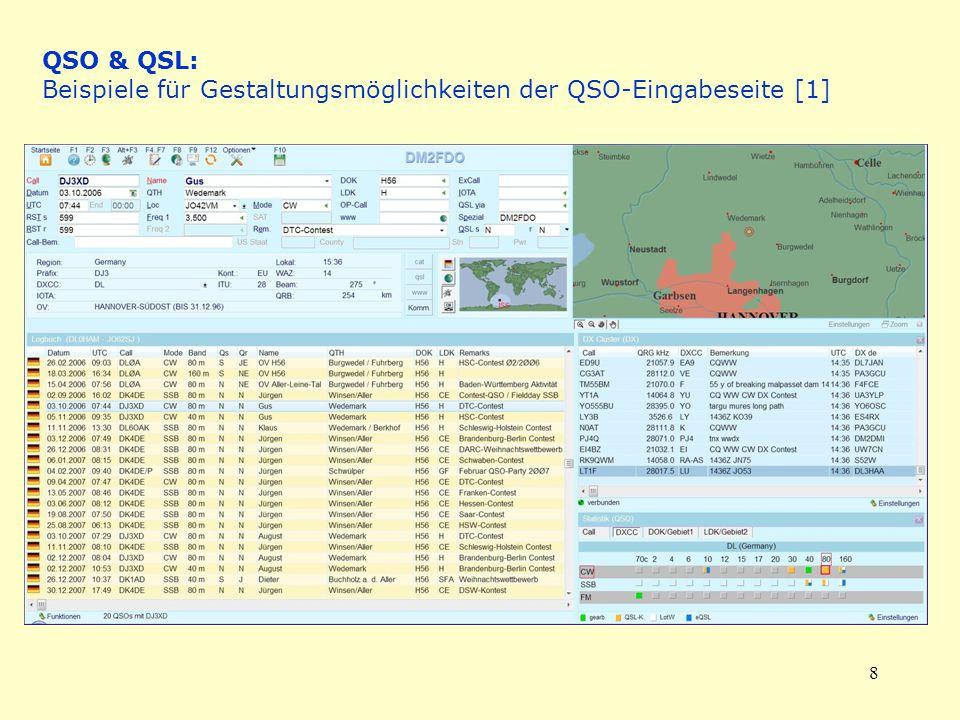 QSO & QSL: Beispiele für Gestaltungsmöglichkeiten der QSO-Eingabeseite [1]